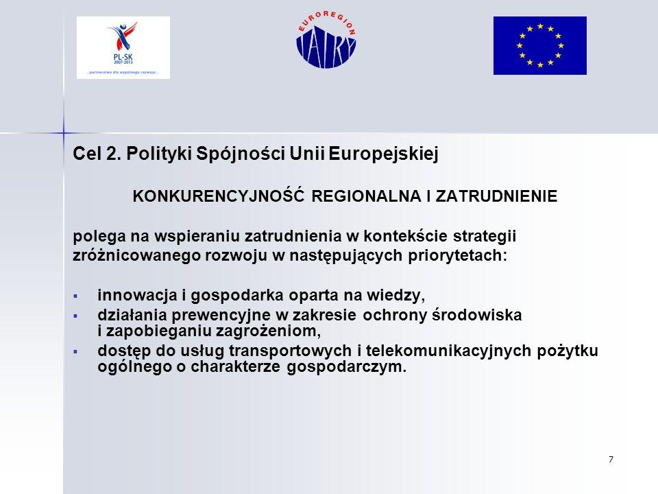 7 Cel 2. Polityki Spójności Unii Europejskiej KONKURENCYJNOŚĆ REGIONALNA I ZATRUDNIENIE polega na wspieraniu zatrudnienia w kontekście strategii zróżn