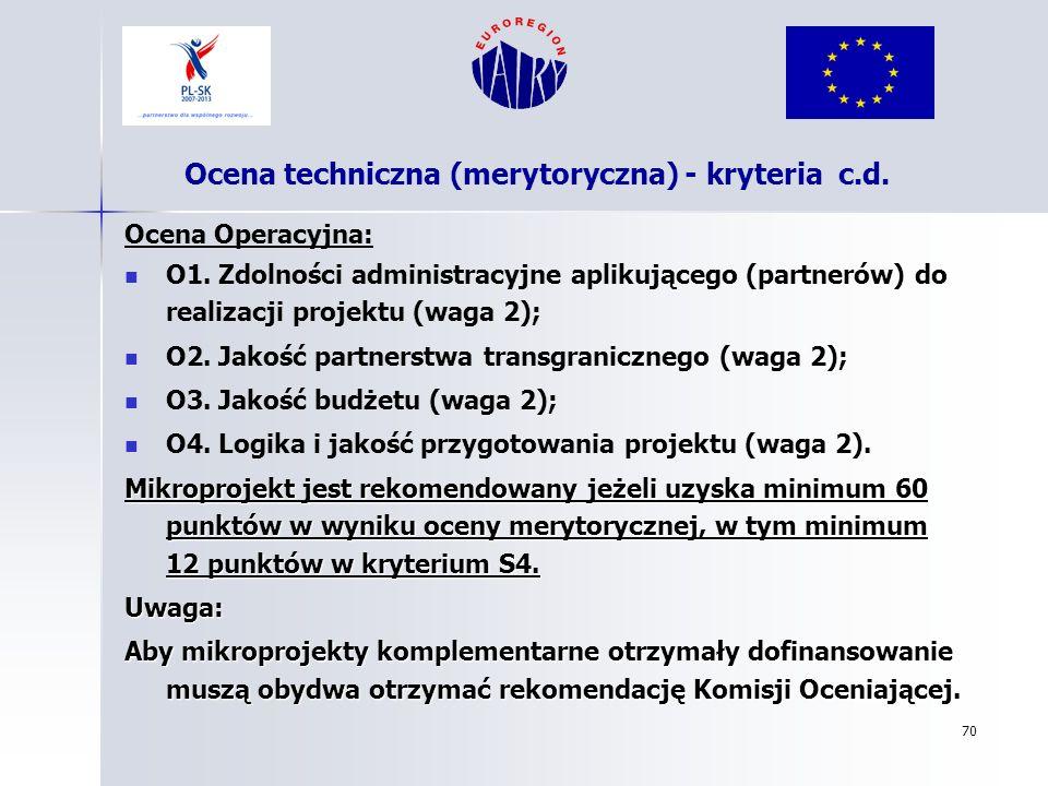 70 Ocena Operacyjna: O1. Zdolności administracyjne aplikującego (partnerów) do realizacji projektu (waga 2); O2. Jakość partnerstwa transgranicznego (