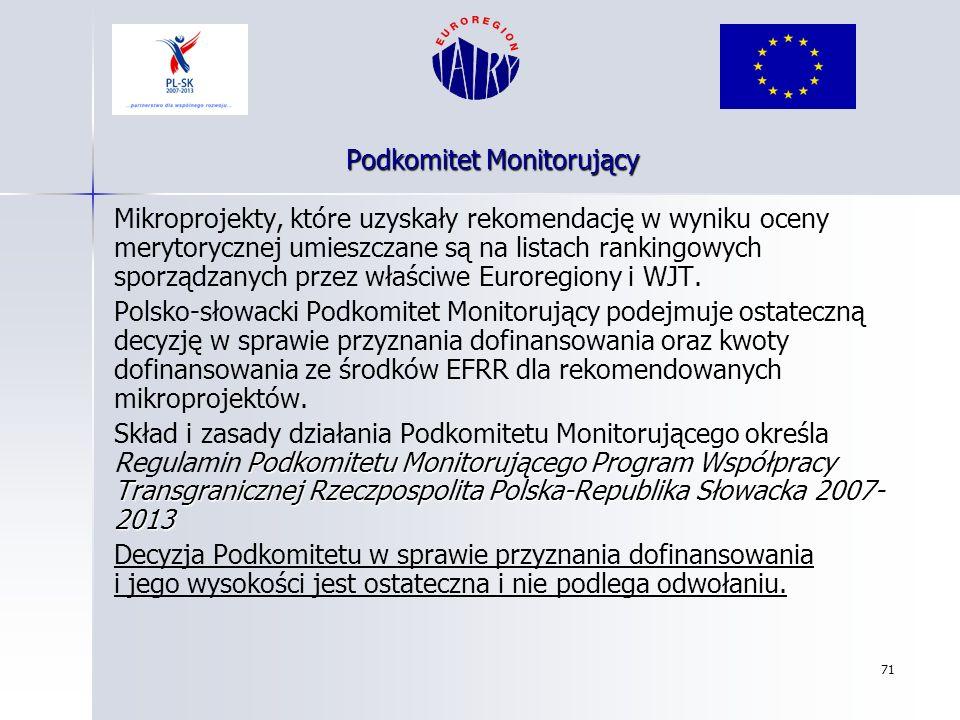 71 Mikroprojekty, które uzyskały rekomendację w wyniku oceny merytorycznej umieszczane są na listach rankingowych sporządzanych przez właściwe Euroreg