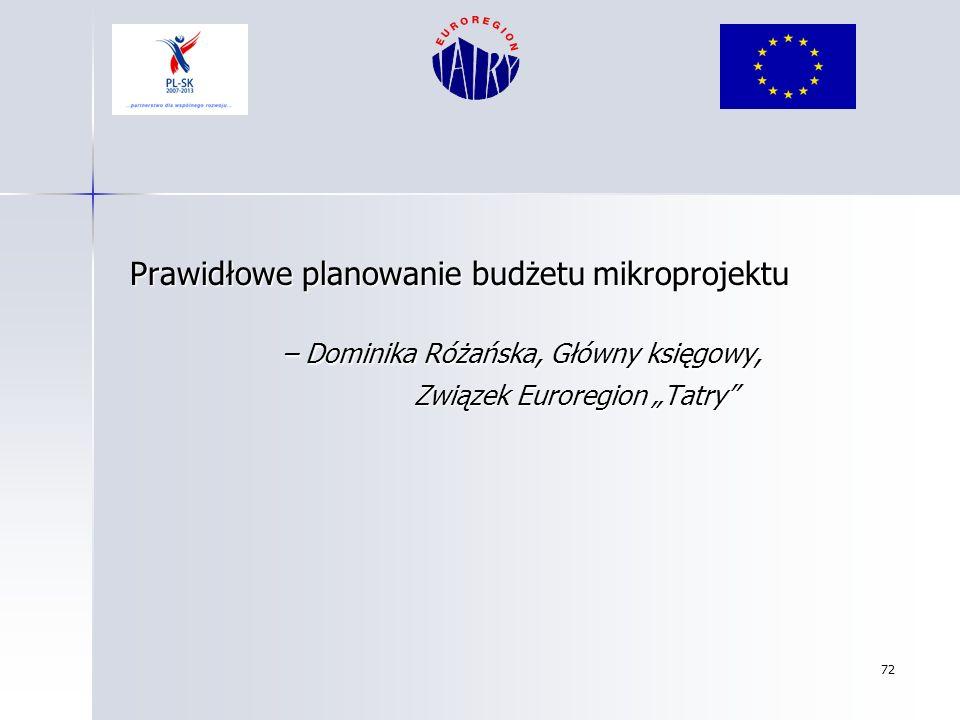 72 Prawidłowe planowanie budżetu mikroprojektu Prawidłowe planowanie budżetu mikroprojektu – Dominika Różańska, Główny księgowy, – Dominika Różańska,
