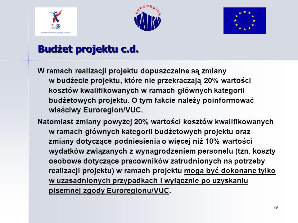 79 Budżet projektu c.d. W ramach realizacji projektu dopuszczalne są zmiany w budżecie projektu, które nie przekraczają 20% wartości kosztów kwalifiko