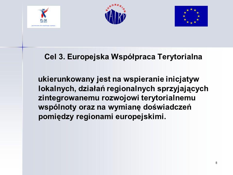 8 Cel 3. Europejska Współpraca Terytorialna ukierunkowany jest na wspieranie inicjatyw lokalnych, działań regionalnych sprzyjających zintegrowanemu ro