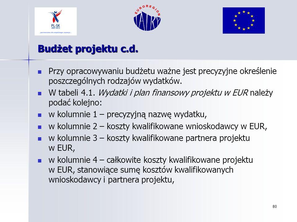 80 Budżet projektu c.d. Przy opracowywaniu budżetu ważne jest precyzyjne określenie poszczególnych rodzajów wydatków. W tabeli 4.1. Wydatki i plan fin