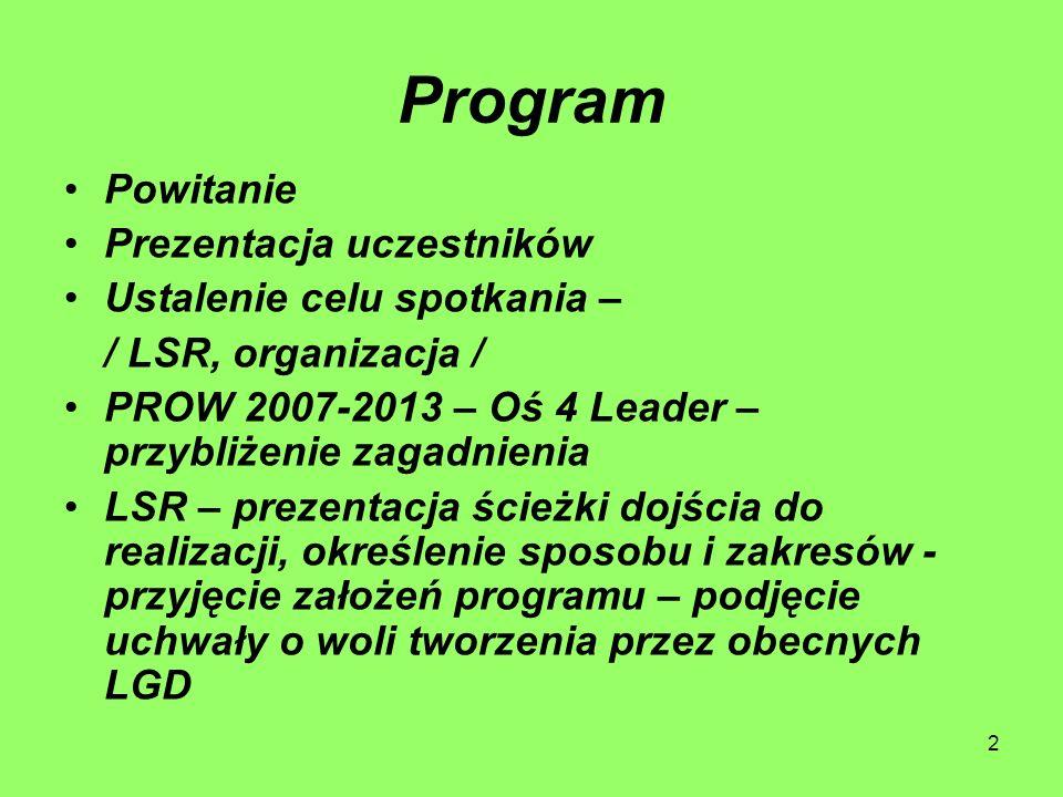 2 Program Powitanie Prezentacja uczestników Ustalenie celu spotkania – / LSR, organizacja / PROW 2007-2013 – Oś 4 Leader – przybliżenie zagadnienia LSR – prezentacja ścieżki dojścia do realizacji, określenie sposobu i zakresów - przyjęcie założeń programu – podjęcie uchwały o woli tworzenia przez obecnych LGD