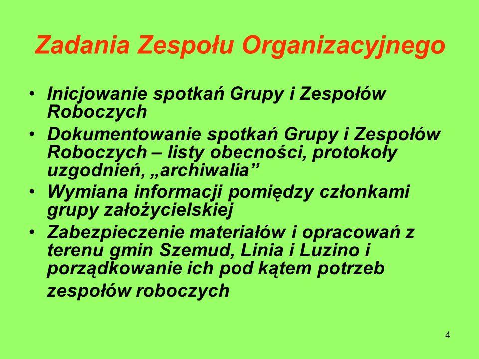 4 Zadania Zespołu Organizacyjnego Inicjowanie spotkań Grupy i Zespołów Roboczych Dokumentowanie spotkań Grupy i Zespołów Roboczych – listy obecności,