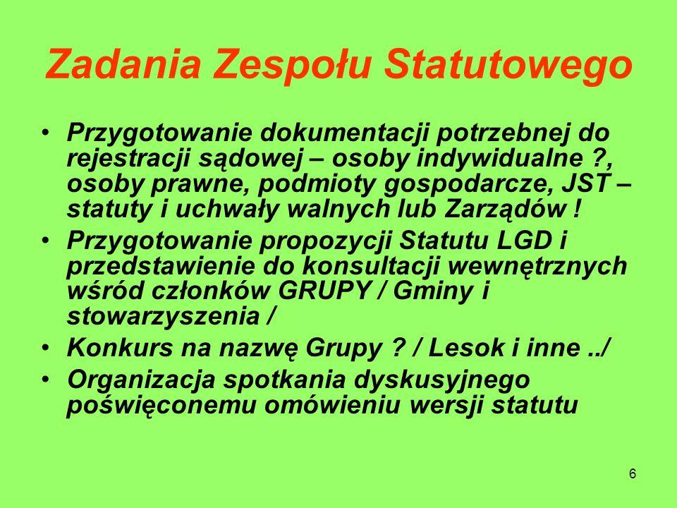 6 Zadania Zespołu Statutowego Przygotowanie dokumentacji potrzebnej do rejestracji sądowej – osoby indywidualne ?, osoby prawne, podmioty gospodarcze,