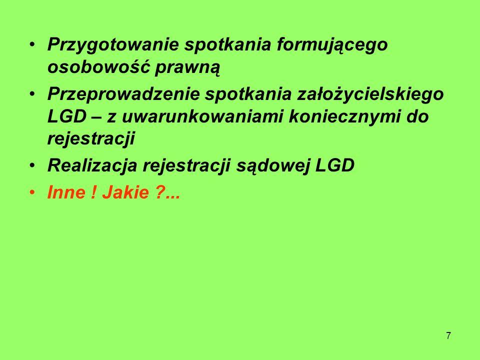 7 Przygotowanie spotkania formującego osobowość prawną Przeprowadzenie spotkania założycielskiego LGD – z uwarunkowaniami koniecznymi do rejestracji Realizacja rejestracji sądowej LGD Inne .