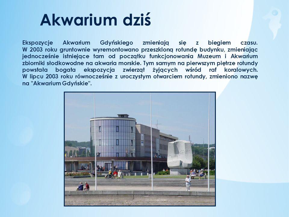 Ekspozycje Akwarium Gdyńskiego zmieniają się z biegiem czasu. W 2003 roku gruntownie wyremontowano przeszkloną rotundę budynku, zmieniając jednocześni