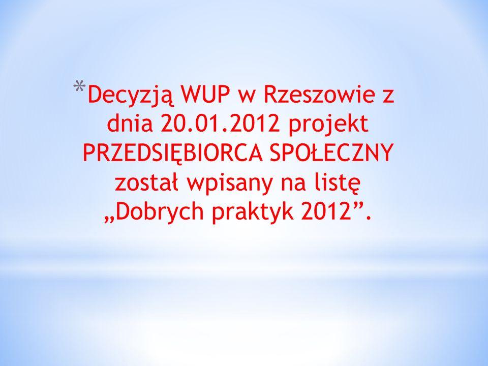 * Decyzją WUP w Rzeszowie z dnia 20.01.2012 projekt PRZEDSIĘBIORCA SPOŁECZNY został wpisany na listę Dobrych praktyk 2012.