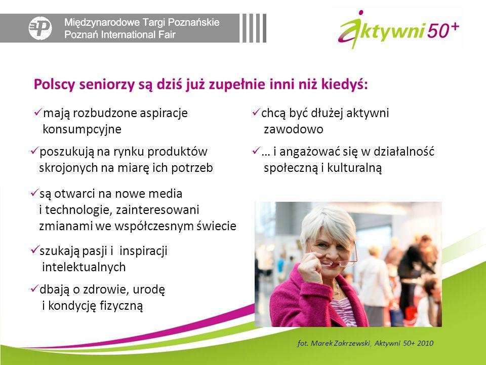 mają rozbudzone aspiracje konsumpcyjne Polscy seniorzy są dziś już zupełnie inni niż kiedyś: dbają o zdrowie, urodę i kondycję fizyczną poszukują na rynku produktów skrojonych na miarę ich potrzeb są otwarci na nowe media i technologie, zainteresowani zmianami we współczesnym świecie szukają pasji i inspiracji intelektualnych chcą być dłużej aktywni zawodowo … i angażować się w działalność społeczną i kulturalną fot.
