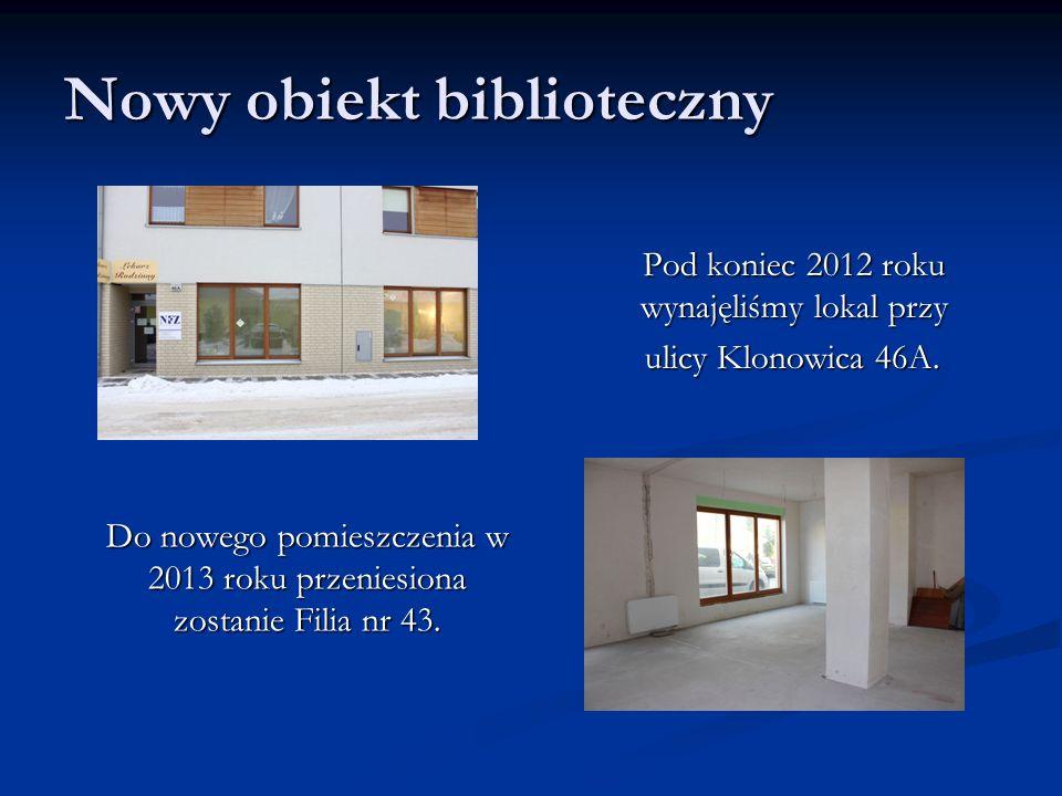 Nowy obiekt biblioteczny Pod koniec 2012 roku wynajęliśmy lokal przy ulicy Klonowica 46A.
