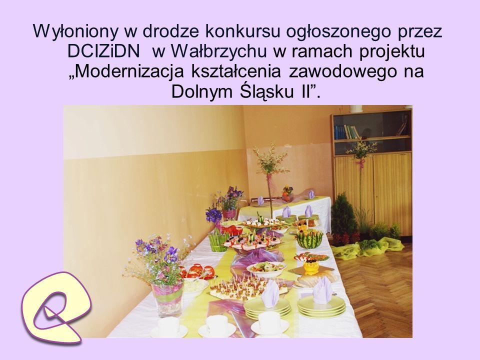 Wyłoniony w drodze konkursu ogłoszonego przez DCIZiDN w Wałbrzychu w ramach projektu Modernizacja kształcenia zawodowego na Dolnym Śląsku II.