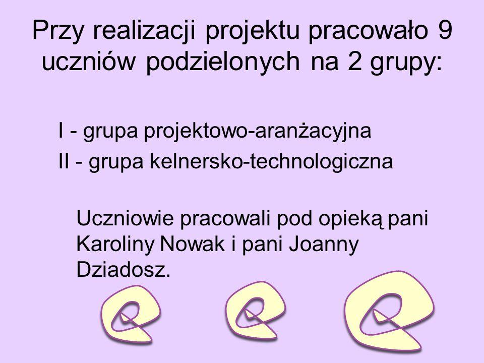 Przy realizacji projektu pracowało 9 uczniów podzielonych na 2 grupy: I - grupa projektowo-aranżacyjna II - grupa kelnersko-technologiczna Uczniowie pracowali pod opieką pani Karoliny Nowak i pani Joanny Dziadosz.