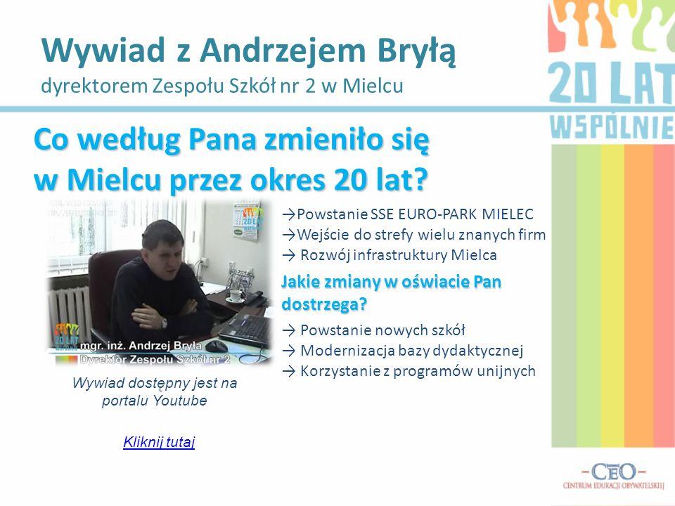 Wywiad z Andrzejem Bryłą dyrektorem Zespołu Szkół nr 2 w Mielcu Wywiad dostępny jest na portalu Youtube Kliknij tutaj Co według Pana zmieniło się w Mi