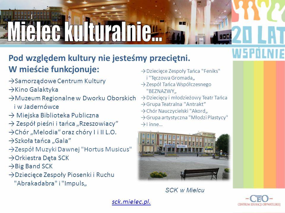 sck.mielec.pl. Pod względem kultury nie jesteśmy przeciętni. W mieście funkcjonuje: Samorządowe Centrum Kultury Kino Galaktyka Muzeum Regionalne w Dwo