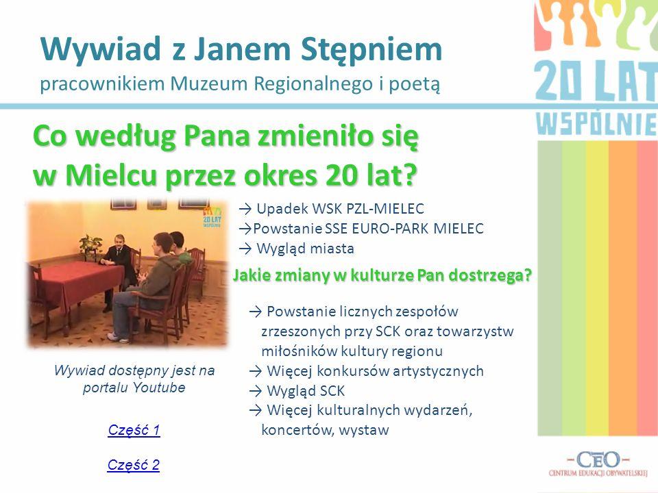 Wywiad z Janem Stępniem pracownikiem Muzeum Regionalnego i poetą Wywiad dostępny jest na portalu Youtube Część 1 Część 2 Co według Pana zmieniło się w