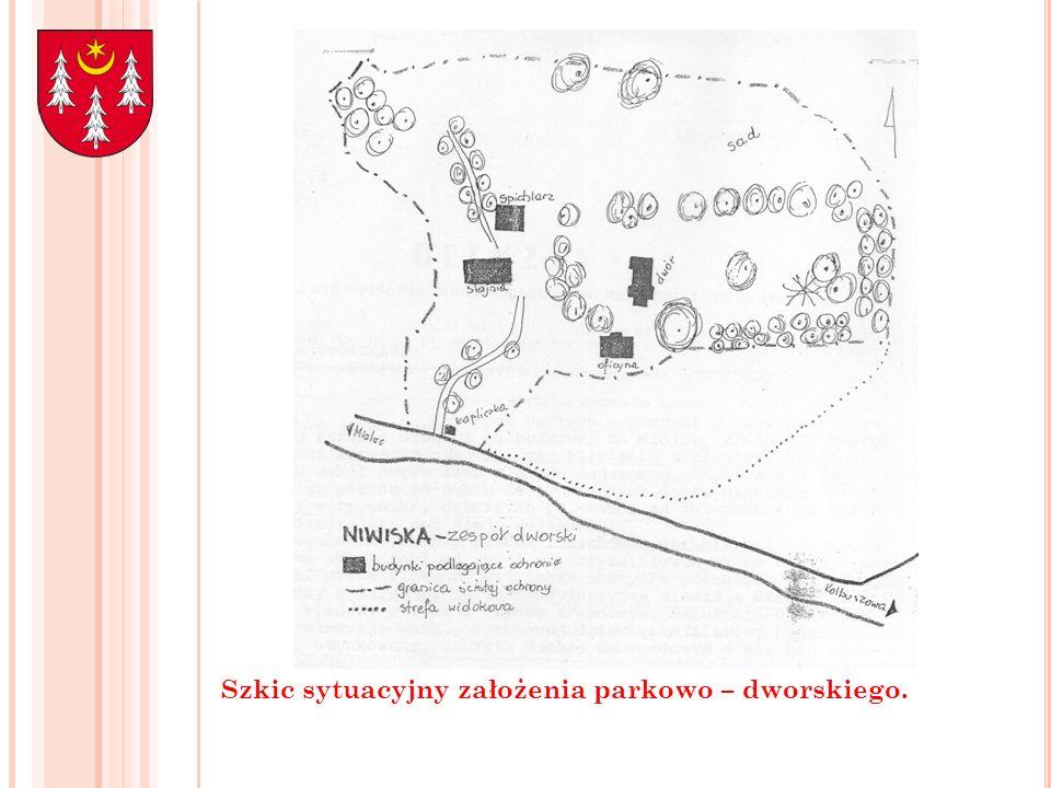 Szkic sytuacyjny założenia parkowo – dworskiego.