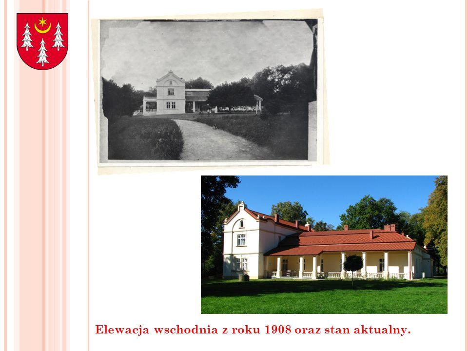 Elewacja wschodnia z roku 1908 oraz stan aktualny.