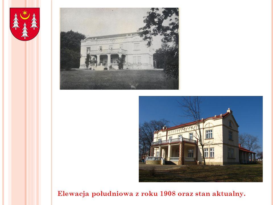 Elewacja południowa z roku 1908 oraz stan aktualny.