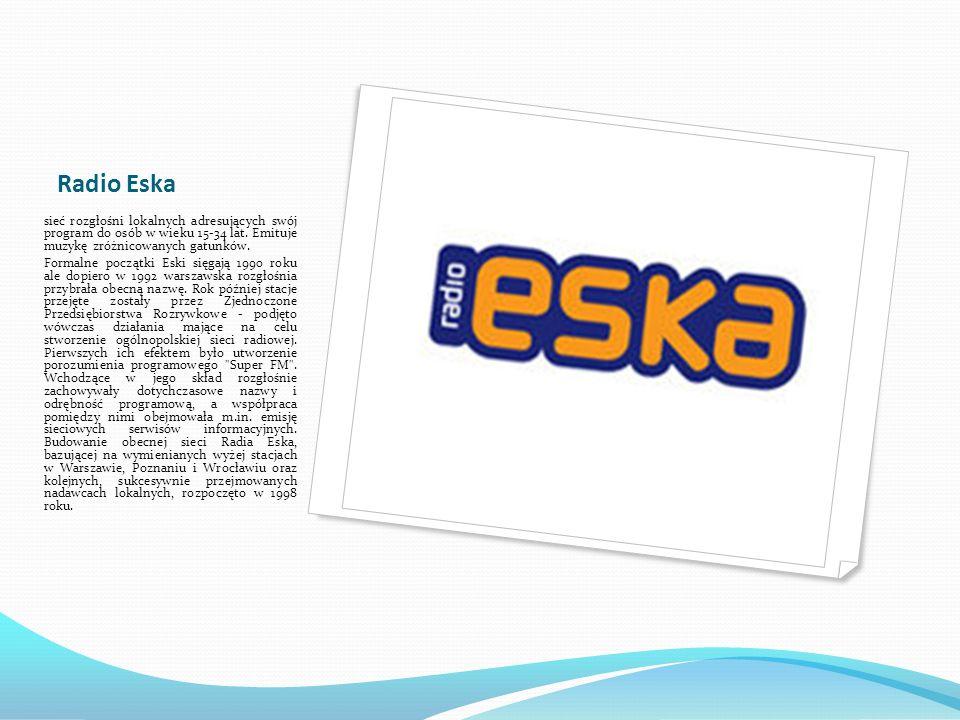 Radio Eska Aktualnie pod szyldem Radia Eska działa 37 rozgłośni.