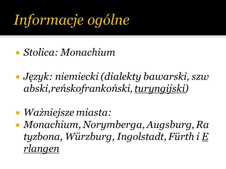 Stolica: Monachium Język: niemiecki (dialekty bawarski, szw abski,reńskofrankoński, turyngijski) Ważniejsze miasta: Monachium, Norymberga, Augsburg, R