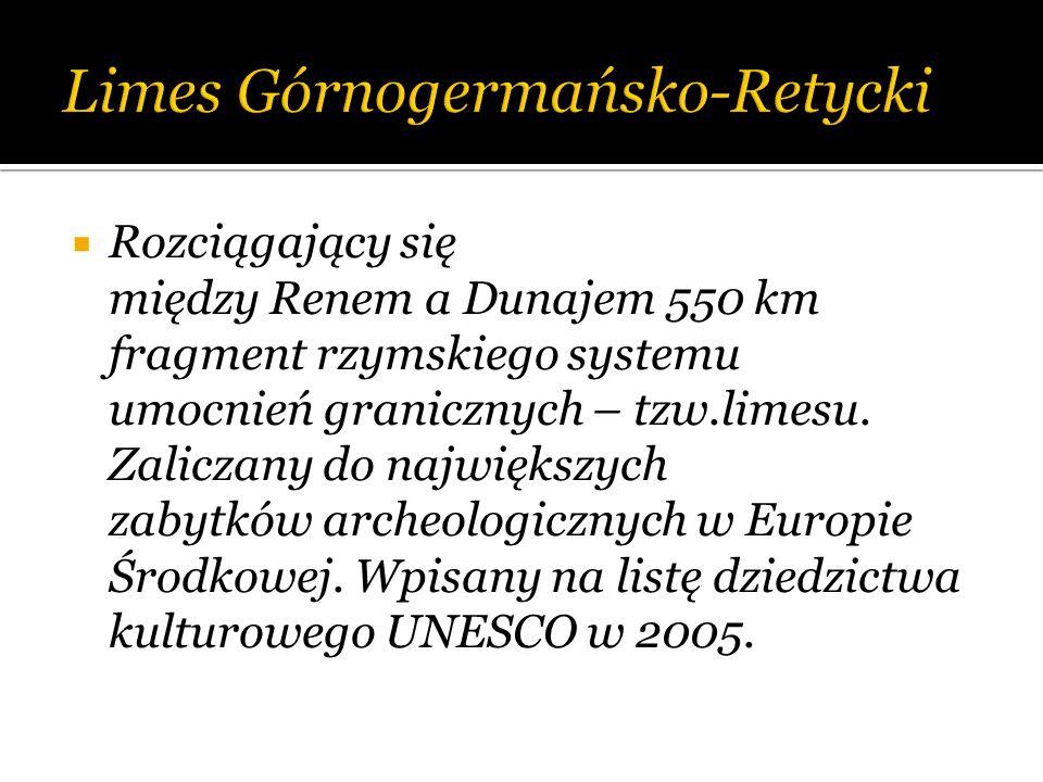 Rozciągający się między Renem a Dunajem 550 km fragment rzymskiego systemu umocnień granicznych – tzw.limesu. Zaliczany do największych zabytków arche