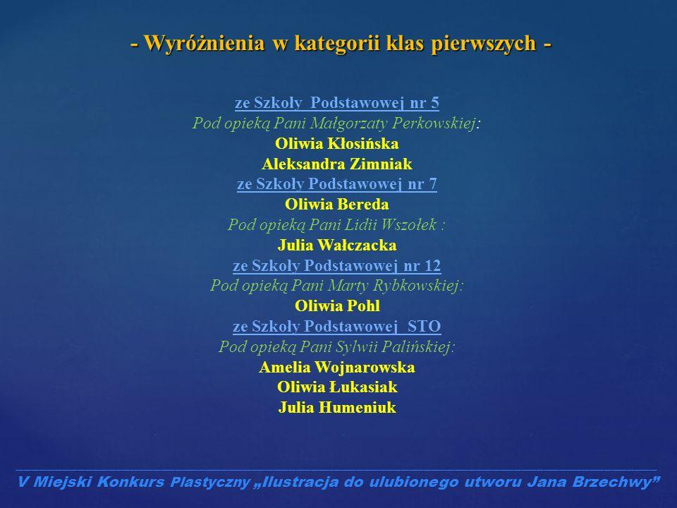 ze Szkoły Podstawowej nr 5 Pod opieką Pani Małgorzaty Perkowskiej: Oliwia Kłosińska Aleksandra Zimniak ze Szkoły Podstawowej nr 7 Oliwia Bereda Pod op