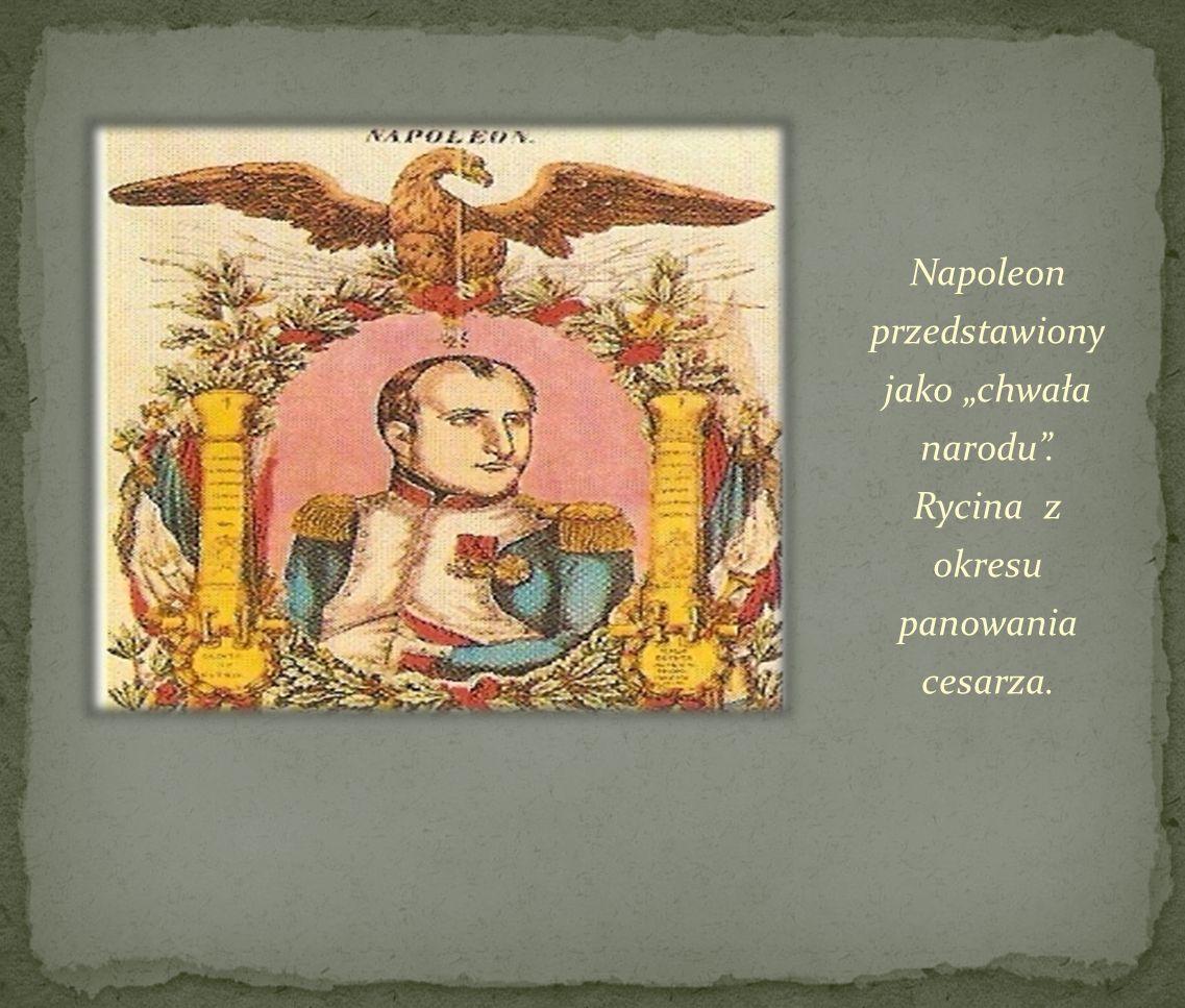 Napoleon przedstawiony jako chwała narodu. Rycina z okresu panowania cesarza.