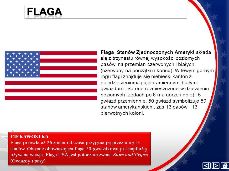 Flaga Stanów Zjednoczonych Ameryki składa się z trzynastu równej wysokości poziomych pasów, na przemian czerwonych i białych (czerwony na początku i k