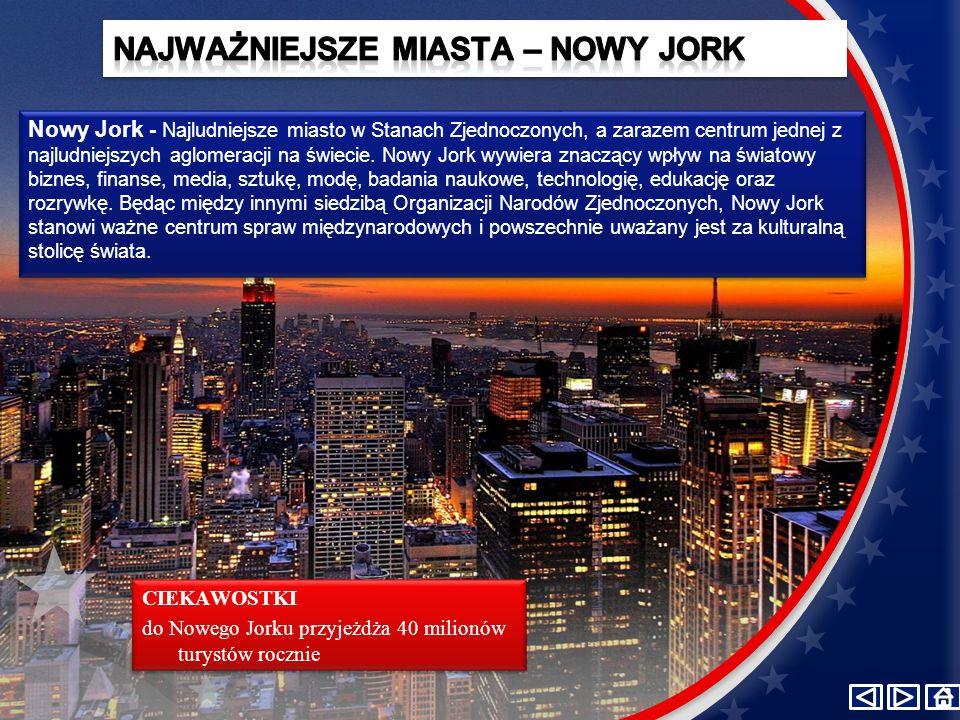 Nowy Jork - Najludniejsze miasto w Stanach Zjednoczonych, a zarazem centrum jednej z najludniejszych aglomeracji na świecie.