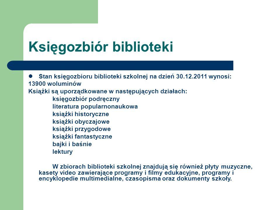 Księgozbiór biblioteki Stan księgozbioru biblioteki szkolnej na dzień 30.12.2011 wynosi: 13900 woluminów Książki są uporządkowane w następujących dzia