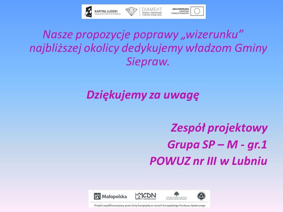 Nasze propozycje poprawy wizerunku najbliższej okolicy dedykujemy władzom Gminy Siepraw. Dziękujemy za uwagę Zespół projektowy Grupa SP – M - gr.1 POW