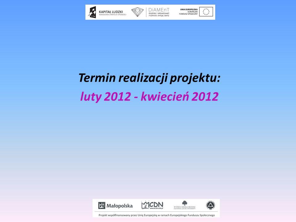Termin realizacji projektu: luty 2012 - kwiecień 2012