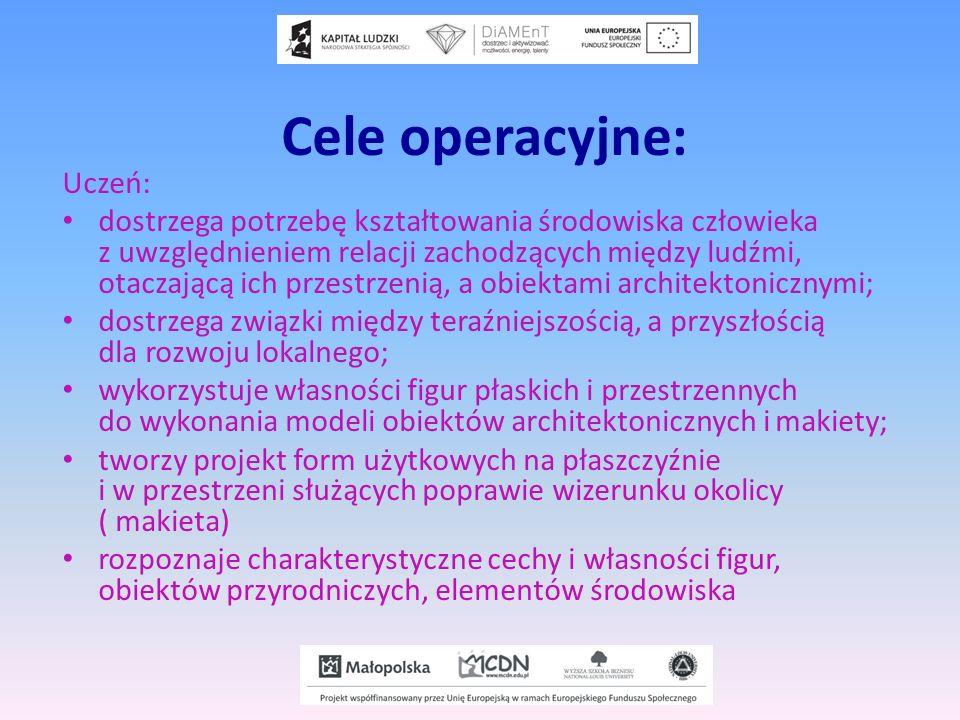 Cele operacyjne: Uczeń: dostrzega potrzebę kształtowania środowiska człowieka z uwzględnieniem relacji zachodzących między ludźmi, otaczającą ich prze