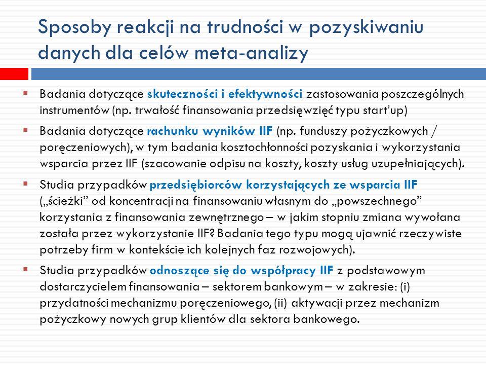 Sposoby reakcji na trudności w pozyskiwaniu danych dla celów meta-analizy Badania dotyczące skuteczności i efektywności zastosowania poszczególnych instrumentów (np.