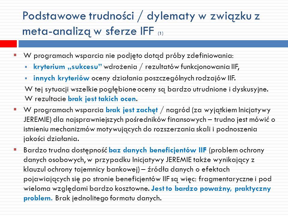 Podstawowe trudności / dylematy w związku z meta-analizą w sferze IFF (1) W programach wsparcia nie podjęto dotąd próby zdefiniowania: kryterium sukcesu wdrożenia / rezultatów funkcjonowania IIF, innych kryteriów oceny działania poszczególnych rodzajów IIF.