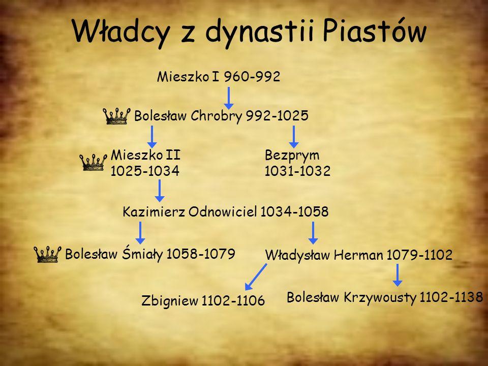 Władcy z dynastii Piastów Mieszko I 960-992 Bolesław Chrobry 992-1025 Mieszko II 1025-1034 Bezprym 1031-1032 Kazimierz Odnowiciel 1034-1058 Bolesław Ś