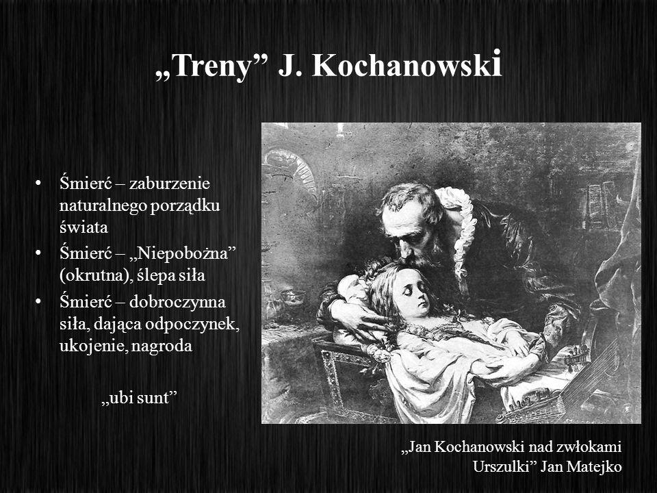 Treny J. Kochanowsk i Śmierć – zaburzenie naturalnego porządku świata Śmierć – Niepobożna (okrutna), ślepa siła Śmierć – dobroczynna siła, dająca odpo