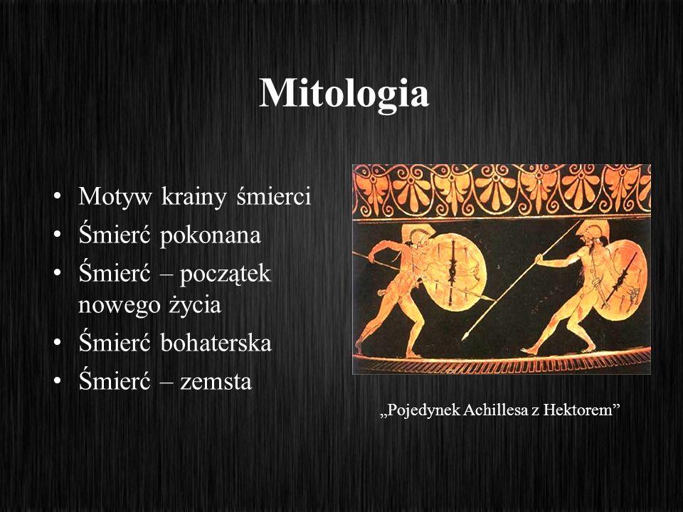 Mitologia Motyw krainy śmierci Śmierć pokonana Śmierć – początek nowego życia Śmierć bohaterska Śmierć – zemsta Pojedynek Achillesa z Hektorem