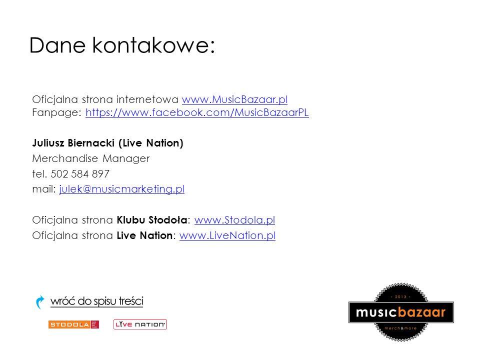 Dane kontakowe: Oficjalna strona internetowa www.MusicBazaar.pl Fanpage: https://www.facebook.com/MusicBazaarPLwww.MusicBazaar.plhttps://www.facebook.com/MusicBazaarPL Juliusz Biernacki (Live Nation) Merchandise Manager tel.