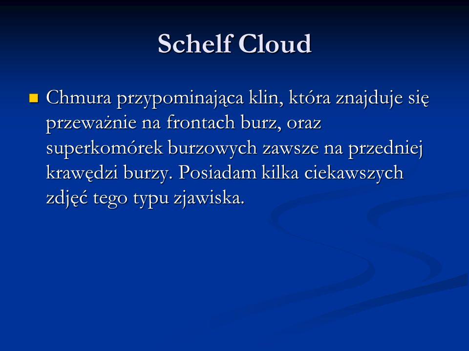 Schelf Cloud Chmura przypominająca klin, która znajduje się przeważnie na frontach burz, oraz superkomórek burzowych zawsze na przedniej krawędzi burzy.