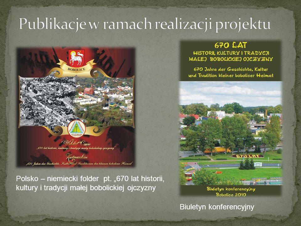 Polsko – niemiecki folder pt. 670 lat historii, kultury i tradycji małej bobolickiej ojczyzny Biuletyn konferencyjny