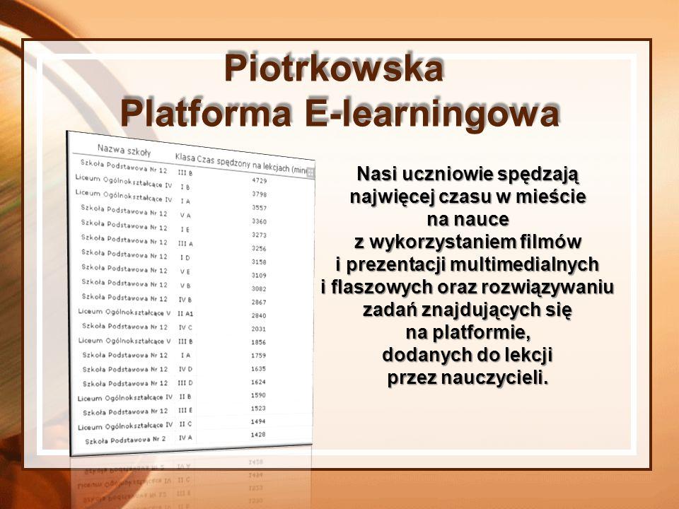 Piotrkowska Platforma E-learningowa Nauczyciele mają do dyspozycji materiały z nauczania wczesnoszkolnego, języka polskiego, przyrody, matematyki, języka angielskiego, języka niemieckiego, matematyki, informatyki, historii.