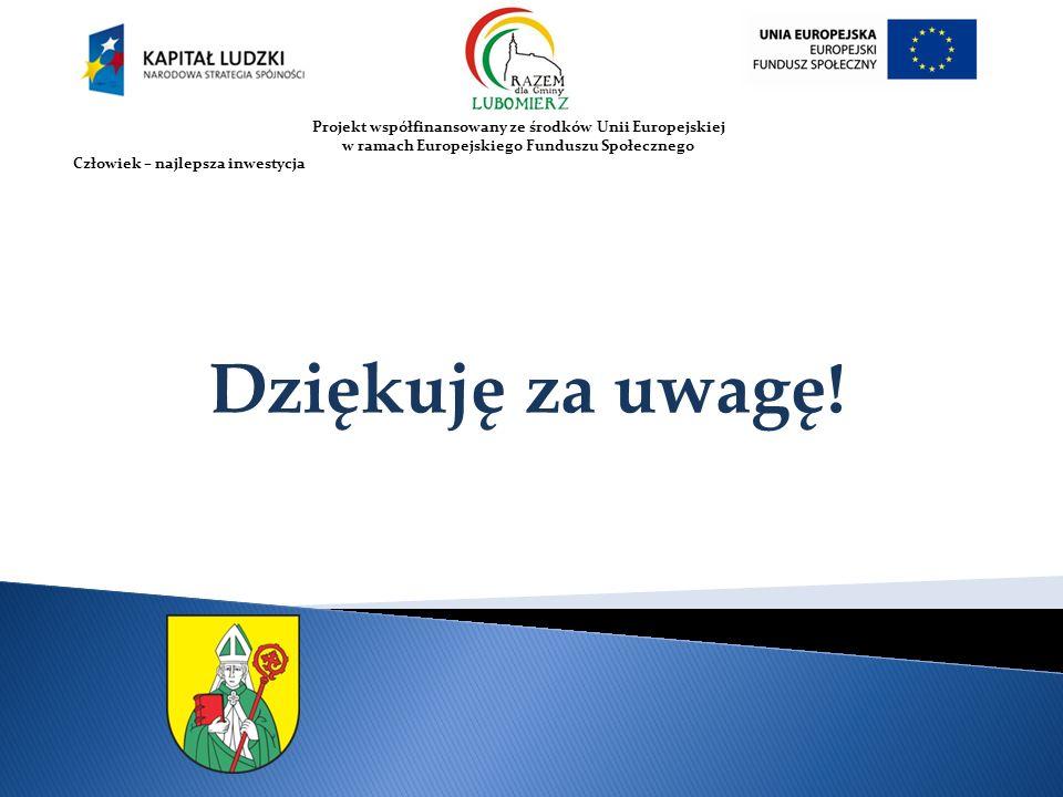Projekt współfinansowany ze środków Unii Europejskiej w ramach Europejskiego Funduszu Społecznego Człowiek – najlepsza inwestycja Dziękuję za uwagę!