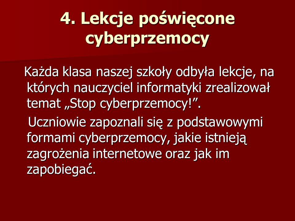 4. Lekcje poświęcone cyberprzemocy Każda klasa naszej szkoły odbyła lekcje, na których nauczyciel informatyki zrealizował temat Stop cyberprzemocy!. K