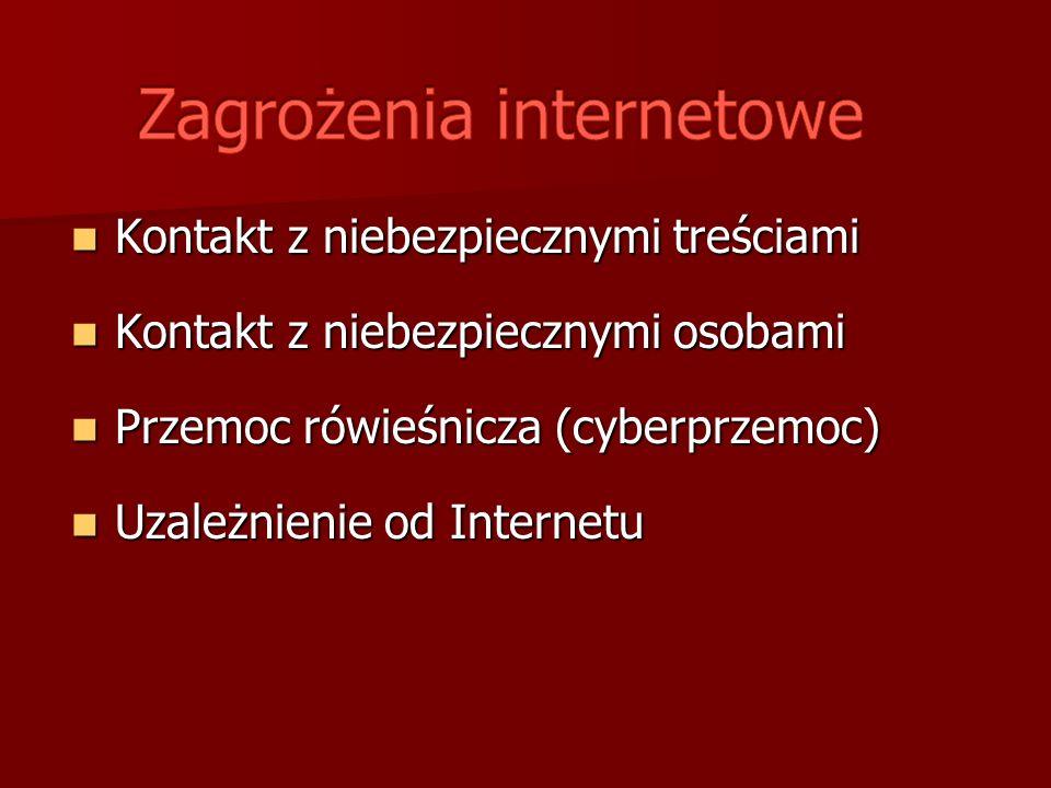 Kontakt z niebezpiecznymi treściami Kontakt z niebezpiecznymi treściami Kontakt z niebezpiecznymi osobami Kontakt z niebezpiecznymi osobami Przemoc rówieśnicza (cyberprzemoc) Przemoc rówieśnicza (cyberprzemoc) Uzależnienie od Internetu Uzależnienie od Internetu