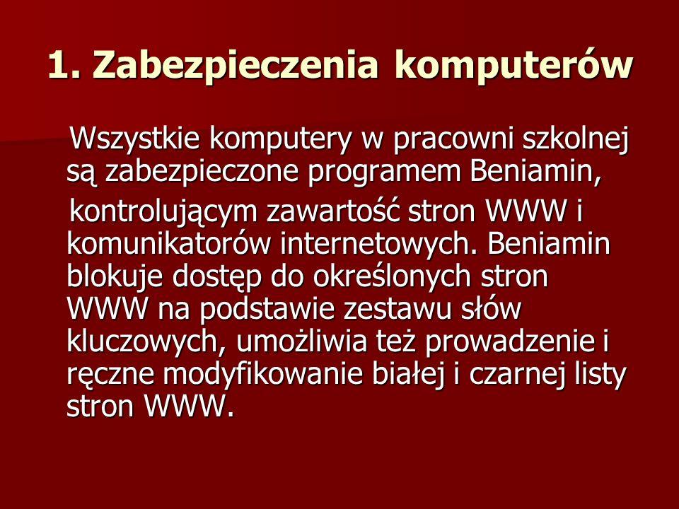 1. Zabezpieczenia komputerów Wszystkie komputery w pracowni szkolnej są zabezpieczone programem Beniamin, Wszystkie komputery w pracowni szkolnej są z