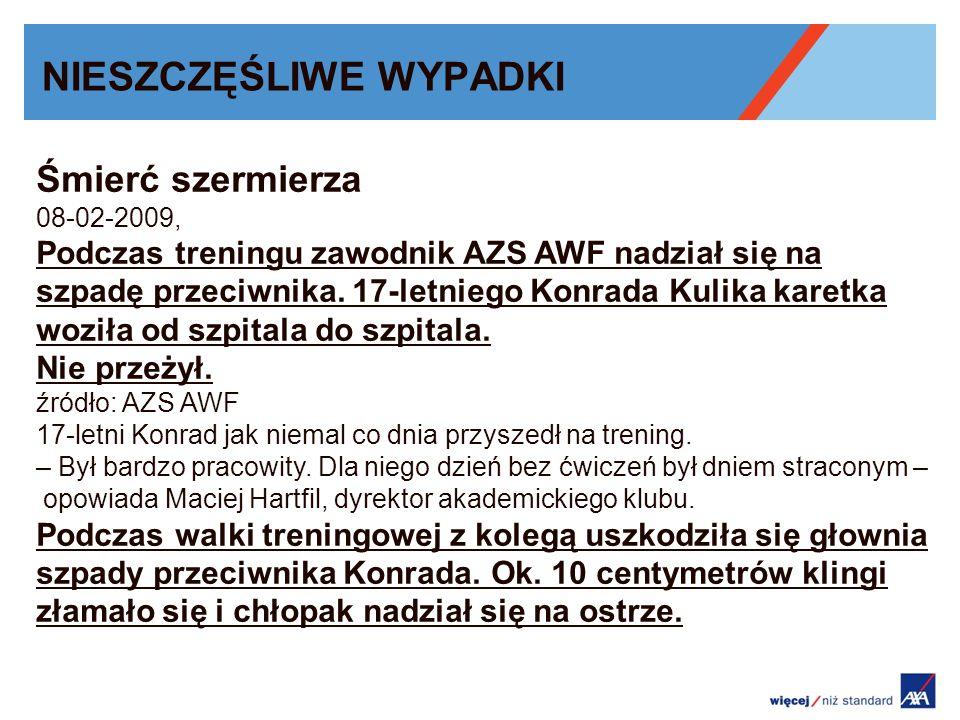 NIESZCZĘŚLIWE WYPADKI Śmierć szermierza 08-02-2009, Podczas treningu zawodnik AZS AWF nadział się na szpadę przeciwnika.