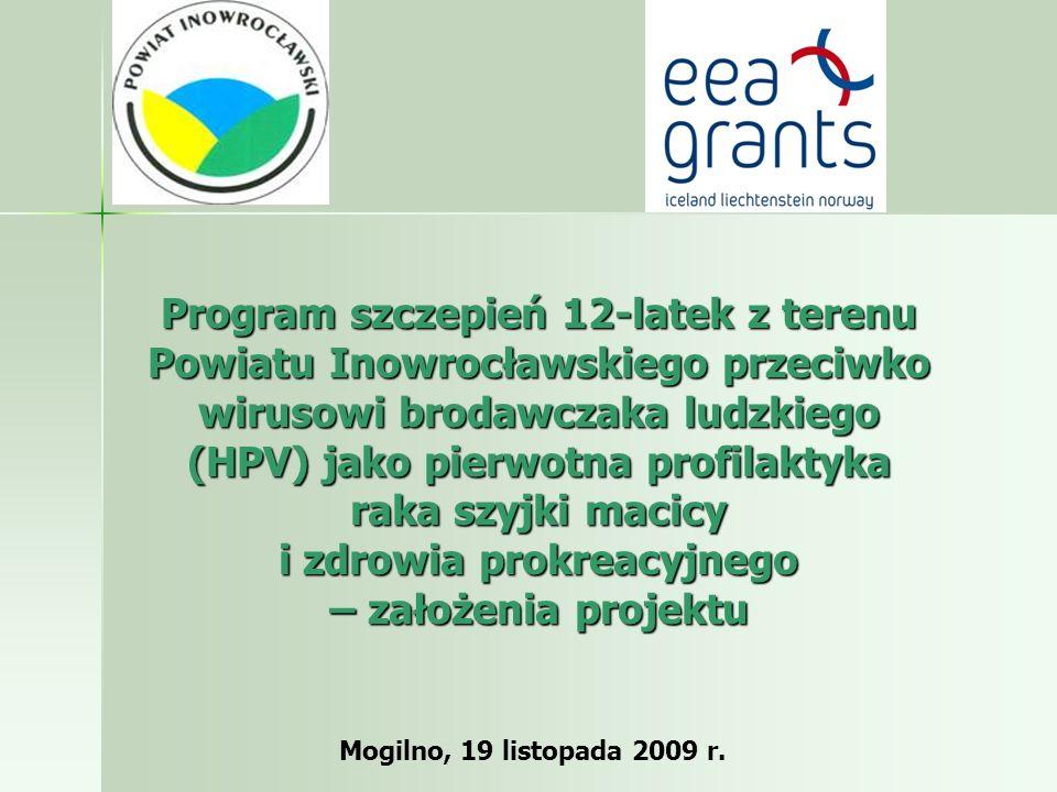 Program szczepień 12-latek z terenu Powiatu Inowrocławskiego przeciwko wirusowi brodawczaka ludzkiego (HPV) jako pierwotna profilaktyka raka szyjki ma