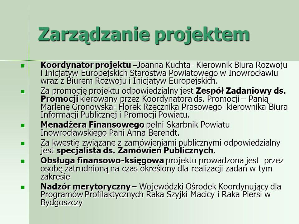 Zarządzanie projektem Koordynator projektu – Joanna Kuchta- Kierownik Biura Rozwoju i Inicjatyw Europejskich Starostwa Powiatowego w Inowrocławiu wraz